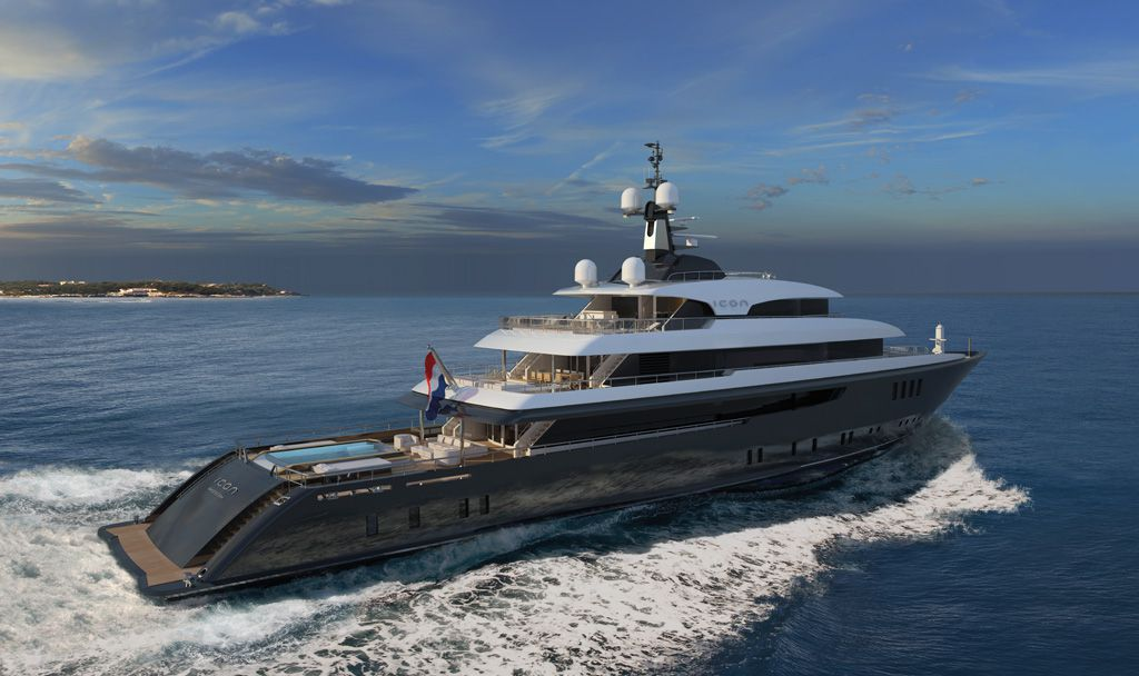 Running shot of M/Y Icon built by ICON Yachts.