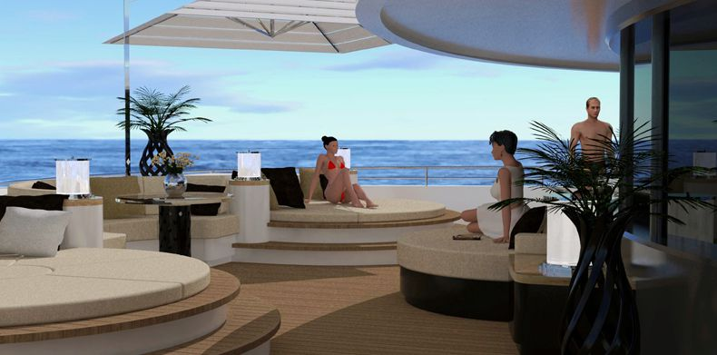 New Build,Icon-250- Sunbathing on sunpads aboard a superyacht.