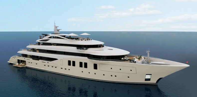 Icon-250, Luxury-Super Yachts - Architect's sketch of a superyacht for ICON Yachts new build.