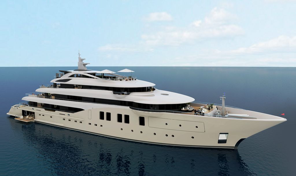 CGI rendering of superyacht for ICON Yachts.