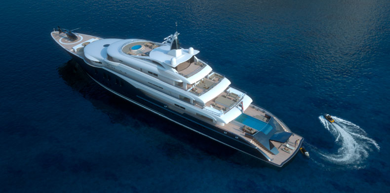 Luxury Super Yacht ICON280 - Aerial view of superyacht with infinity pool and jet skis.