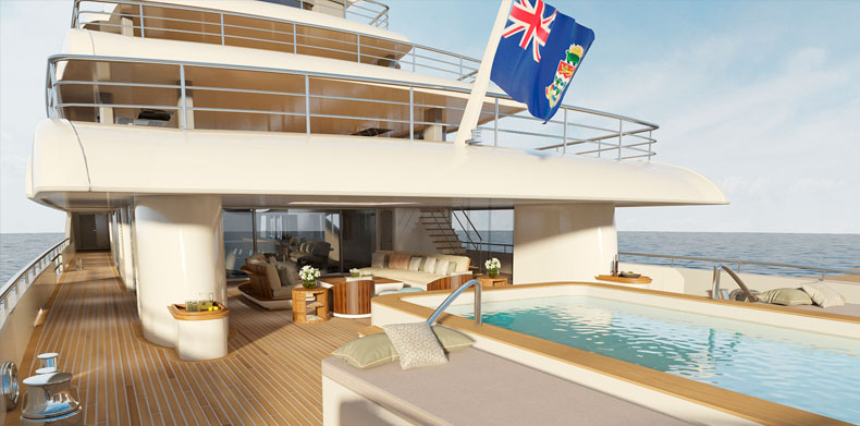 ICON280, Luxury Super Yachts - infinity pool on main deck aft.