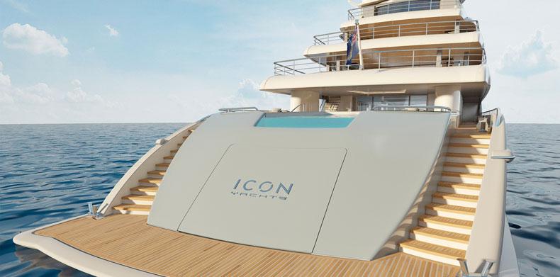 ICON280, Luxury Super Yachts - beach club boarding platform.