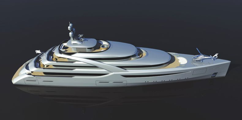 Aerial view of a superyacht.
