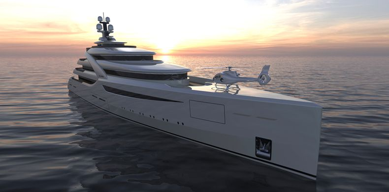 Icon 300 Superyacht at sunset.