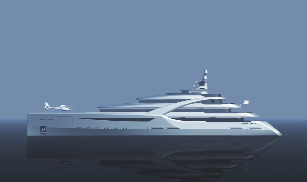 Superyacht concept with helicoptor on bow for ICON Yachts.