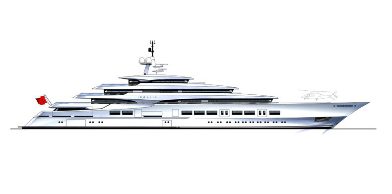 Naval architect drawing of a superyacht.