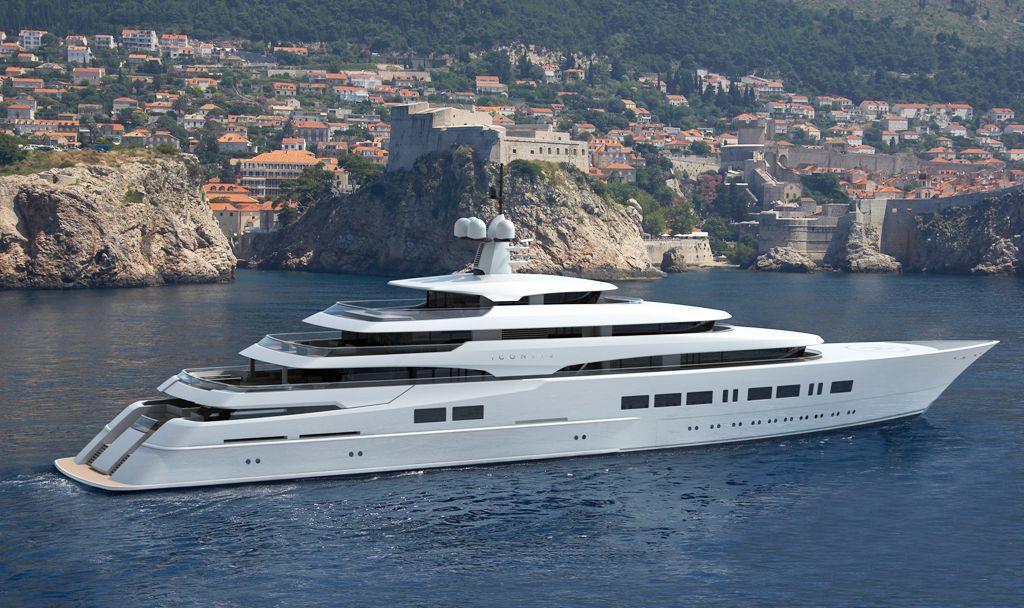 Megayacht built by ICON Yachts anchored at sea.