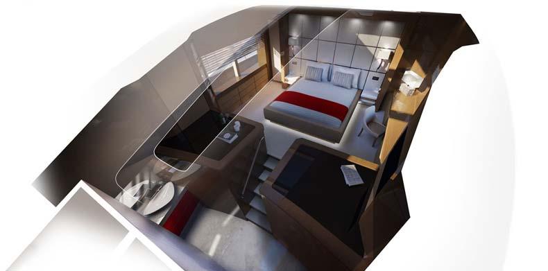 M/Y Islander master suite.