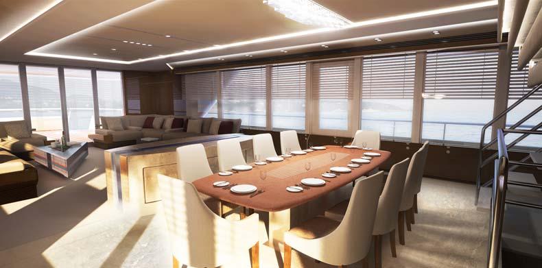 Dining aboard M/Y ICON Islander.