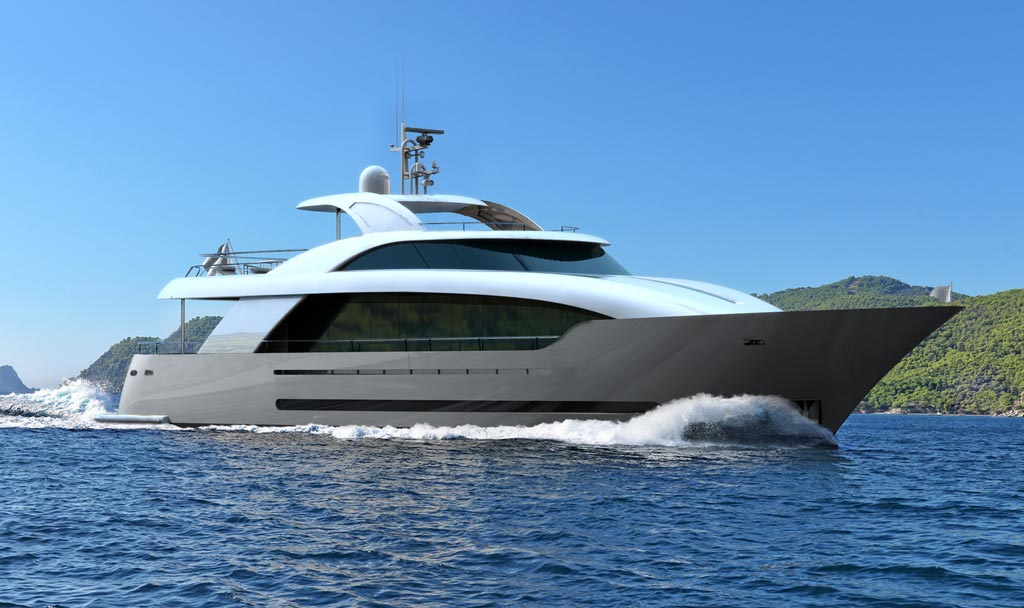 Running shot of M/Y Islander built by ICON Yachts.
