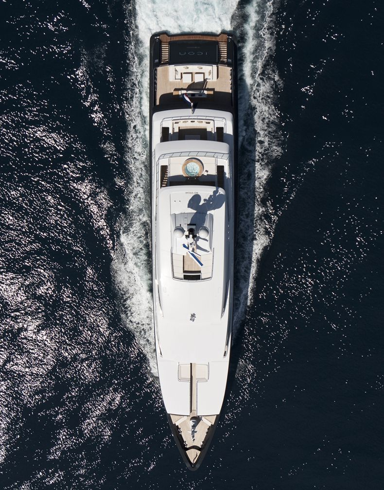 Overhead aerial of M/Y Icon , Icon-250, Super Luxury Yachts.
