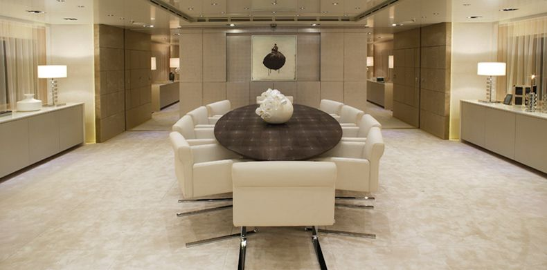 New Build,Icon-250, Super Luxury Yachts - Luxury dining table on board a superyacht.