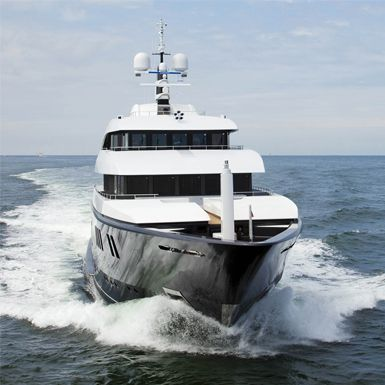 Bow shot of a superycaht built by ICON Yachts.