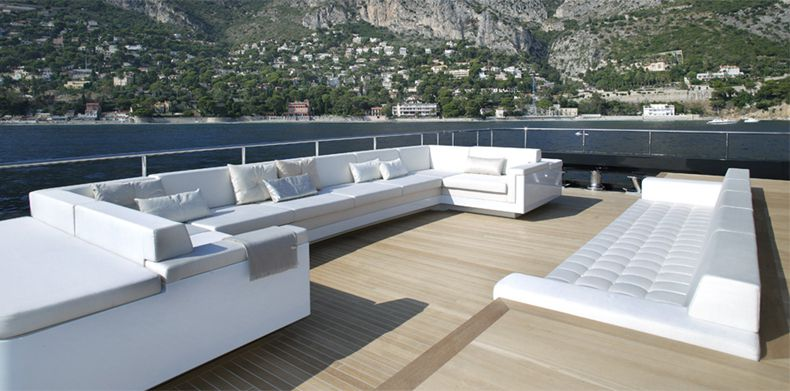 Luxurious seating on the upper deck of M/Y Icon- Super Luxury Yachts.