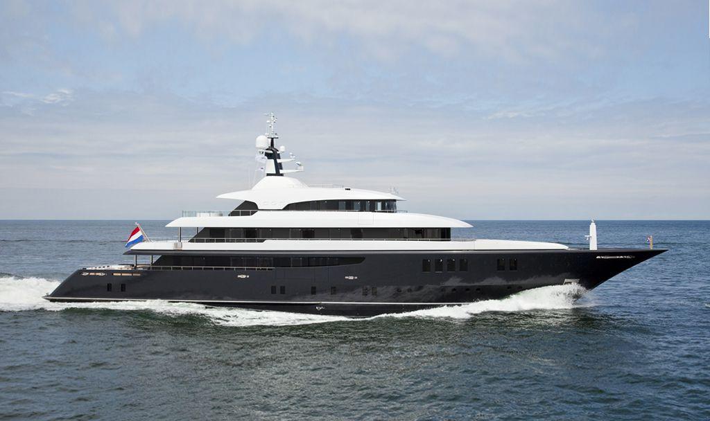 Superyacht, M/Y Icon cruising at sea.