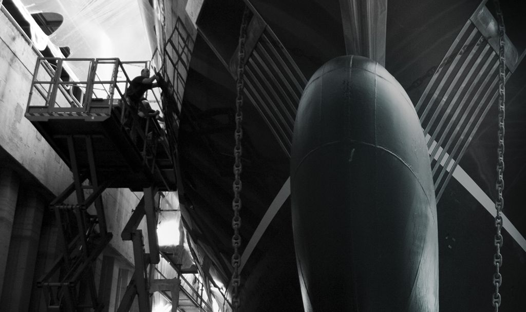 Side profile of superyacht new build.