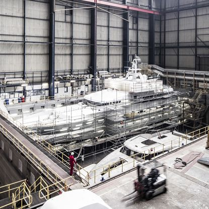 Elevated view of ICON Yachts' 150m long dry dock