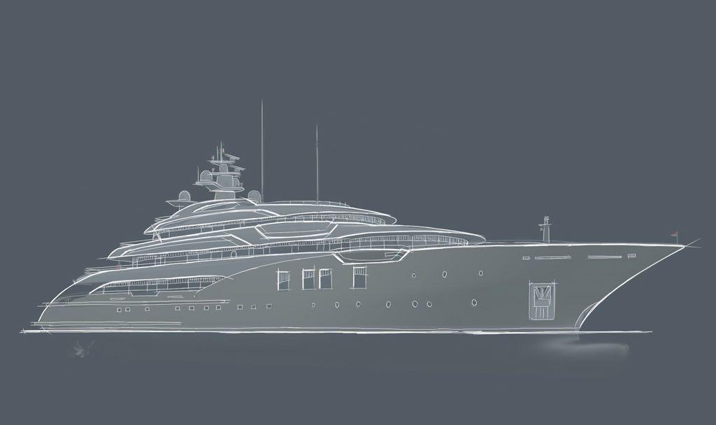 Luxury Super Yacht - Icon 75 Horizontal view.