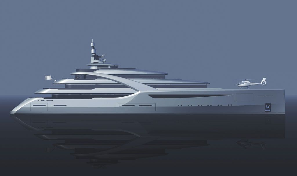 Super Yacht Design- Icon 85 Horizontal view.