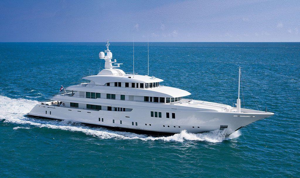 Running shot of superyacht Meridian, ex M/Y Maidelle.